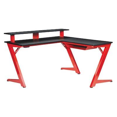 54 in. L-Shaped Matte Red/Matte Black Computer Gaming Desk with USB Port