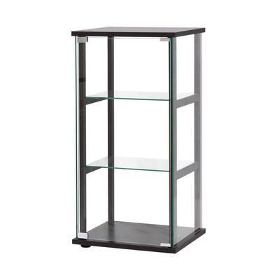3-Shelf Black and Clear Glass Curio Cabinet