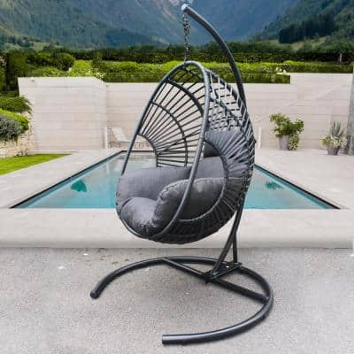 72.83 in. Wicker High Quality Outdoor Indoor Patio Swing Egg chair with Gray Cushion