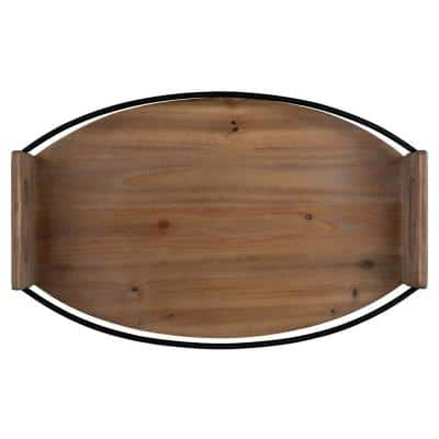 Oval Wood and Metal Tray