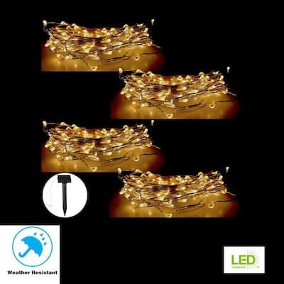 100-Light 20 ft.  Solar Copper Integrated LED String Light (4-Pack)