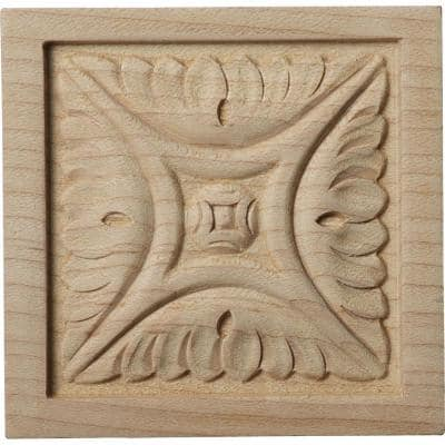 5/8 in. x 3 in. x 3 in. Unfinished Wood Alder Small Middlesborough Rosette
