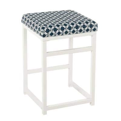 24 in. H White and Blue Metal Counter Stool with Fabric Upholstered Geometric Pattern Seat