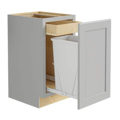 Tremont Assembled 15 x 34.5 x 24 in. Plywood Shaker Single Wastebasket Base Kitchen Cabinet in Painted Pearl Gray