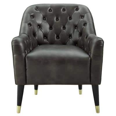 Edgar Taupe Button Tufted Accent Chair
