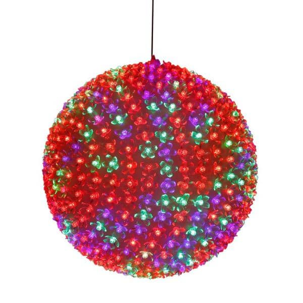Alpine Corporation 13 in. Diameter Large Flashing Sphere Ornament With Multi-Colored LED Lights   The Home Depot