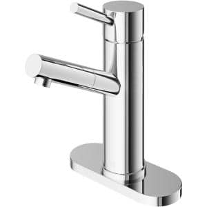 Noma Single Hole Single-Handle Bathroom Faucet with Deck Plate in Chrome