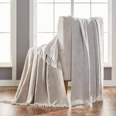 2-Pack Chester Feather Grey 100% Cotton 50 in. x 60 in. Throw Blanket