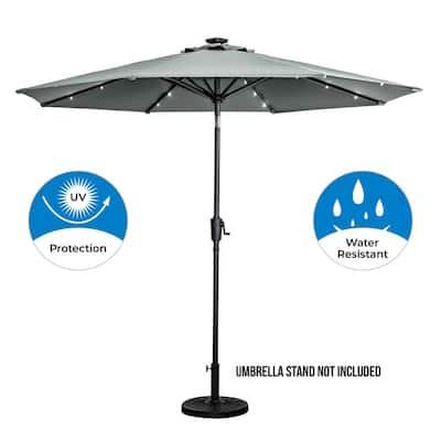 9 ft. 8-Rib Round Solar Lighted Market Patio Umbrella in Grey