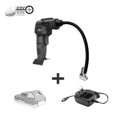 24-Volt Cordless Portable Inflator and Nozzle Adapters Kit with 2.0 Ah Battery + Charger, Black