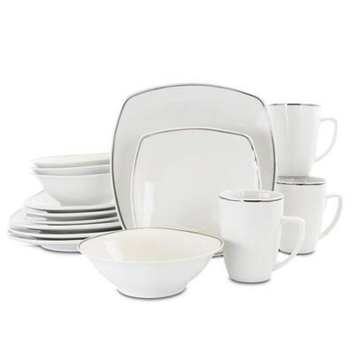 Zen Platinum 16-Piece Casual White Ceramic Dinnerware Set (Service for 4)