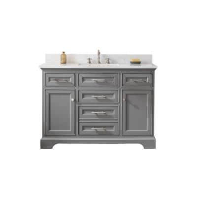 Thompson 48 in. W x 22 in. D Bath Vanity in Gray with Engineered Stone Vanity in Carrara White with White Basin
