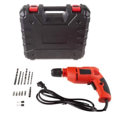 3.8 Amp Corded 3/8 in. Keyless Chuck Power Drill and Carrying Case