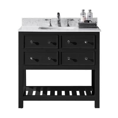 Elodie 36 in. W x 22 in. D x 34.21 in. H Bath Vanity in Espresso with Marble Vanity Top in White with White Basin