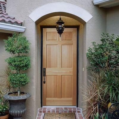 36 in. x 80 in. 6-Panel Unfinished Fir Front Exterior Door Slab