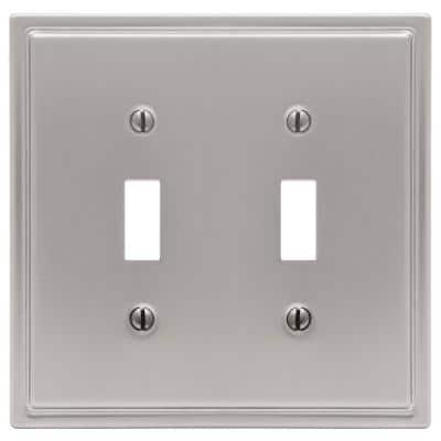Moderne 2 Gang Toggle Steel Wall Plate - Brushed Nickel