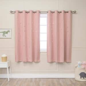 Dusty Pink Geometric Grommet Blackout Curtain - 52 in. W x 63 in. L (Set of 2)