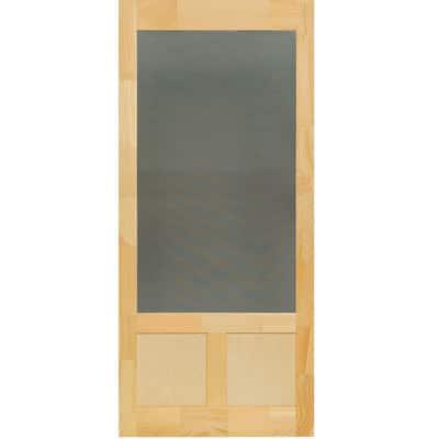 36 in. x 80 in. Elmwood Natural Pine Screen Door