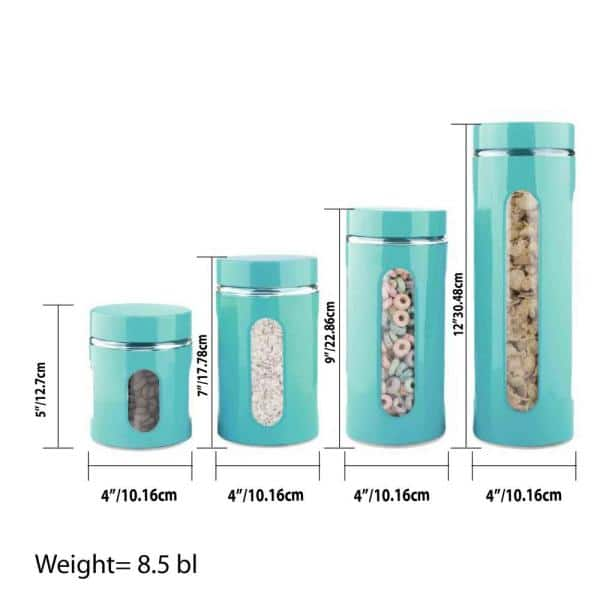 4 Piece Essence Collection Turquoise Stainless Steel Canister Set Hdc59634 The Home Depot