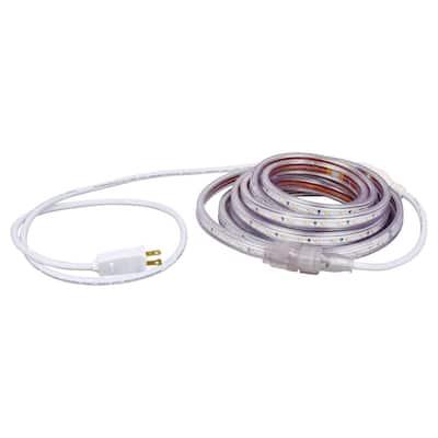 16.4 ft. 30-Watt Plug-In Outdoor Flex LED Landscape Lighting Set Deck Rail Light Bright White 3000K, White
