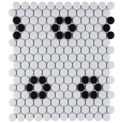 Metro Penny Satin White with Heavy Flower 11-1/2 in. x 9-3/4 in. Porcelain Mosaic (7.97 sq. ft./Case)
