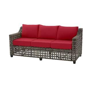 Briar Ridge Brown Wicker Outdoor Patio Sofa with CushionGuard Chili Red Cushions