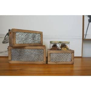 Wood Nesting Storage Crates with Decorative Front Panel and Cutout Handles (Set of 3)