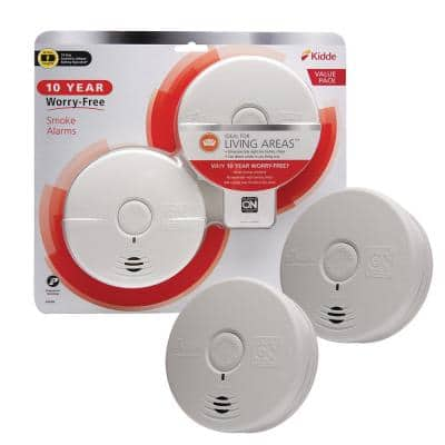 10 Year Worry-Free Smoke Detector, Lithium Battery Powered with Photoelectric Sensor, Smoke Alarm, 2-Pack