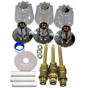 S10-220 Windsor 3-Handle Valve Rebuild Kit with Acrylic Handles for Tub and Shower Faucets