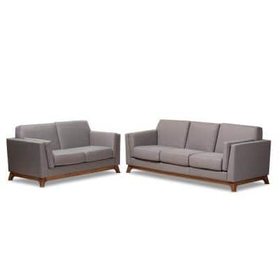 Sava 2-Piece Gray Living Room Set