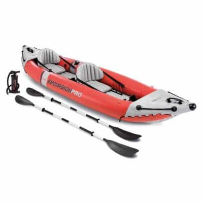Intex Excursion Red Pro Inflatable 2-Person Vinyl Kayak with Oars and Pump
