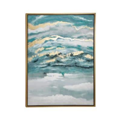 Turquoise and Gold Contemporary Abstract Framed Canvas Wall Art