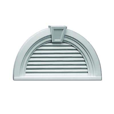 36 in. x 18.563 in. Half Round White Polyurethane Weather Resistant Gable Louver Vent