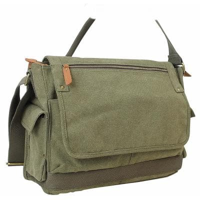 15 in. Casual Style Canvas Laptop Messenger Bag with 15 in. Laptop Compartment. Green