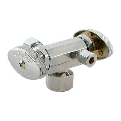1/2 in. FIP x 3/8 in. Compression x 3/8 in. Compression Brass Dual Outlet Dual Handle Stop Valve