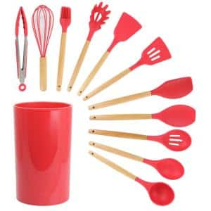 Red Silicone and Wood Cooking Utensils (Set of 12)