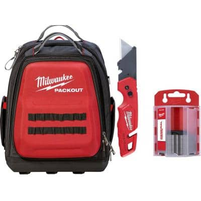 15 in. PACKOUT Backpack with FASTBACK Folding Utility Knife and 50-Pack General Purpose Utility Blade Set