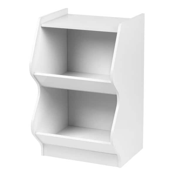 IRIS White 2-Tier Curved Edge Storage Shelf | The Home Depot