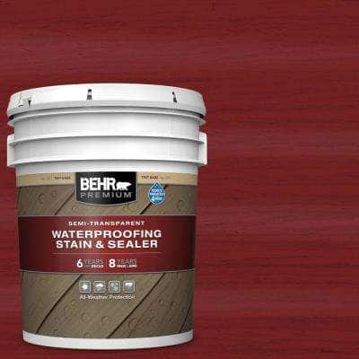 5 gal. #ST-112 Barn Red Semi-Transparent Waterproofing Exterior Wood Stain and Sealer