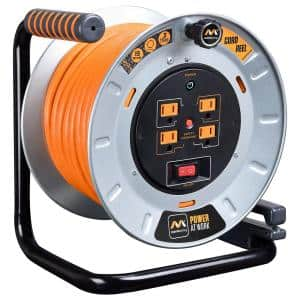 100 ft. 15 Amp 12 AWG Large Open Metal Reel with 4-Sockets