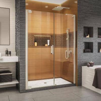 Elegance-LS 52-1/2 in. to 54-1/2 in. W x 72 in. H Frameless Pivot Shower Door in Brushed Nickel