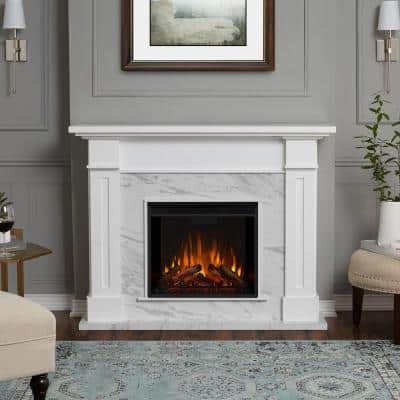 Kipling 54 in. Freestanding Electric Fireplace in White with Faux Marble