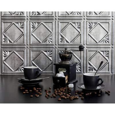 18.5'' x 24.3'' Artnouvo Decorative 3D PVC Backsplash Panels in Crosshatch Silver 1-Piece