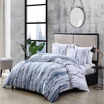 Sokal 3-Piece Blue Striped Cotton Full/Queen Comforter Set