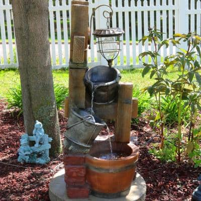 34 in. Rustic Pouring Buckets Outdoor Water Fountain with Solar Lantern
