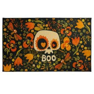 Flower Boo Skull Black 2 ft. 6 in. x 4 ft. 2 in. Holiday Area Rug