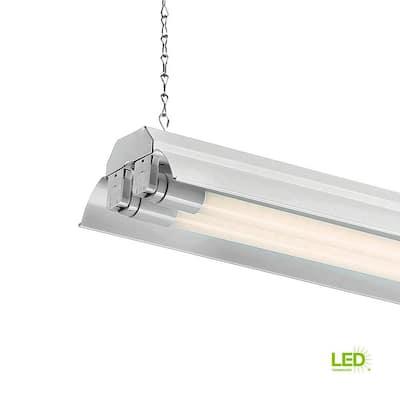 4 ft. 2-Light White LED Shop Light with T8 LED 4000K Tubes