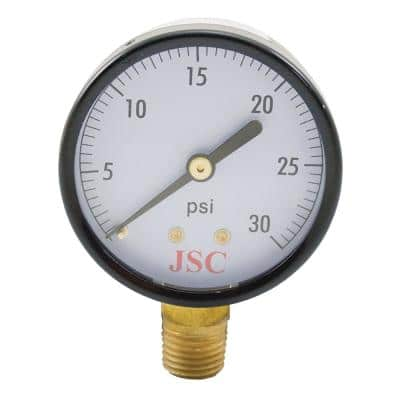 30 PSI Pressure Gauge with 2 in. Face and 1/4 in. MIP Brass Connection