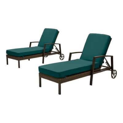 Whitfield Dark Brown Wicker Outdoor Patio Chaise Lounge with CushionGuard Malachite Green Cushions (2-Pack)