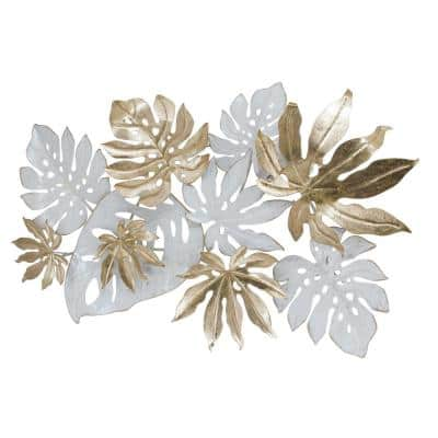 Gold and White Tropical Leaves Metal Mixed Media Wall Art